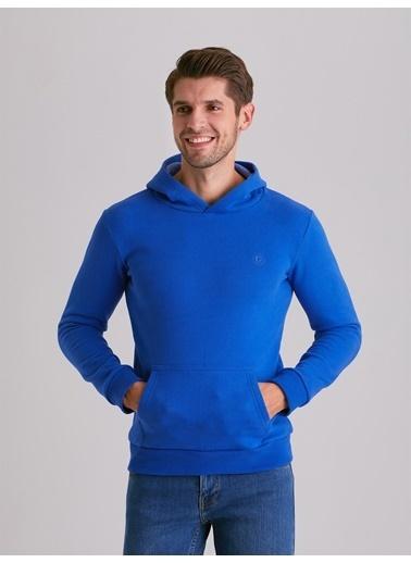 Dufy Düz Kapüşonlu Erkek Sweatshirt - Regular Fit Saks